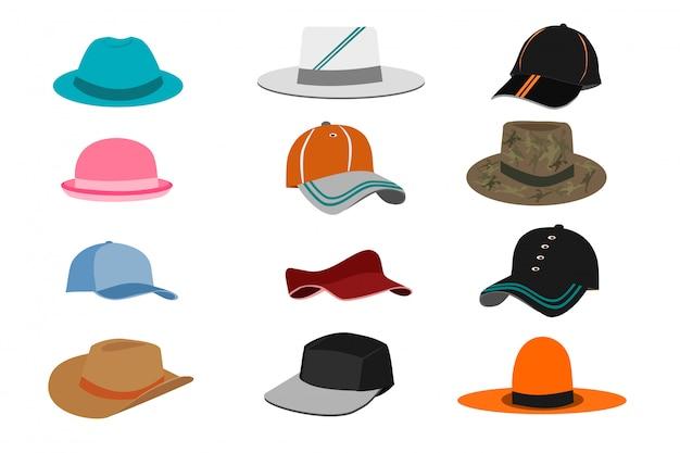 白い背景に様々な種類の帽子のコレクション