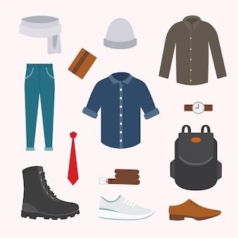 寒い季節の様々なウェアやシューズのコレクション。メンズ秋ルック。スタイルの服。