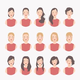 さまざまな女性のヘアスタイルのコレクション。女性の肖像画のキャラクターのセットです。