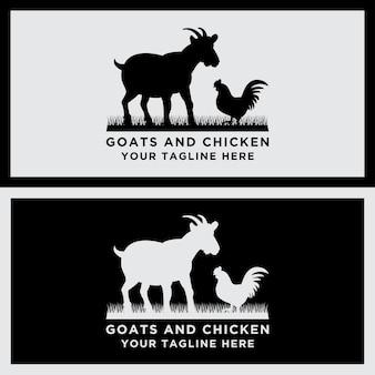 벡터 동물 로고 염소와 닭 디자인의 컬렉션