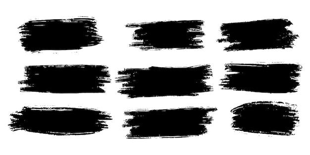ベクトルブラシ手描きグラフィック要素のコレクション。白い背景で隔離のベクトルブラシストロークのセットです。ベクトルイラスト。