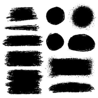 벡터 브러시 손으로 그린 그래픽 요소의 컬렉션입니다. 흰색 배경에 고립 된 벡터 브러시 획의 집합입니다. 벡터 일러스트 레이 션.