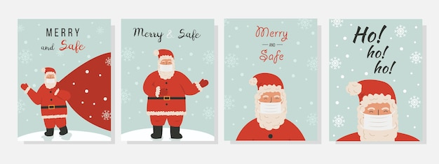 보호용 얼굴 마스크를 쓴 귀여운 산타클로스가 있는 벡터 크리스마스 인사말 카드 모음