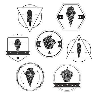 ベクターアイスクリームラベルのコレクション-セット