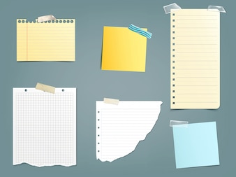 Collection of vector illustrations different paper notes