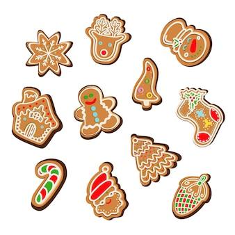 Коллекция векторных иллюстраций графических иконок традиционных рождественских пряников варио ...