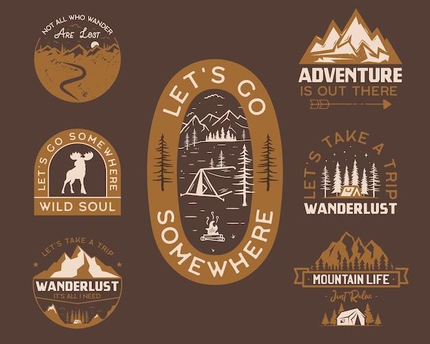 방랑벽과 모험 개념이 있는 다양한 티셔츠 배지의 벡터 삽화 모음