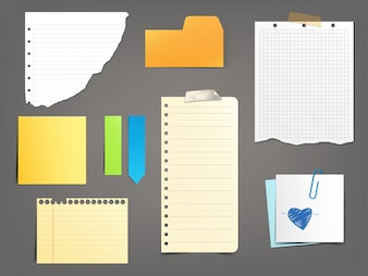 Collection of vector illustrations paper notes of various types