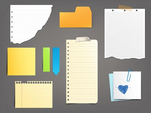 Коллекция векторных иллюстраций бумажных нот различных типов