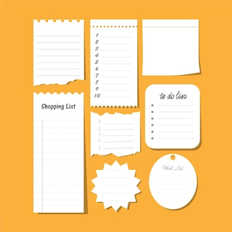 Коллекция векторных изолированных, чтобы сделать список, список желаний, чистый лист бумаги для заметок и т. д. набор бумажных заметок с планом задач.