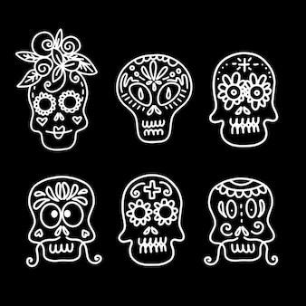 검은 배경에 다른 유형의 장식된 두개골의 벡터 선형 삽화의 컬렉션입니다...