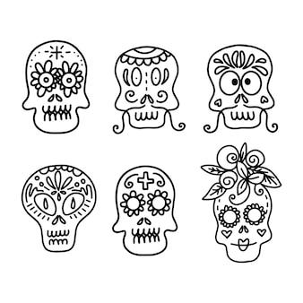 ハロウィーンのお祝いのコンセプトデザインの白い背景にさまざまな種類の装飾された頭蓋骨のベクトル線形イラストのコレクション