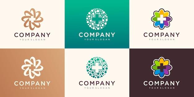 의료용 벡터 로고 컬렉션입니다. 협회, 연합, 화합, 팀워크