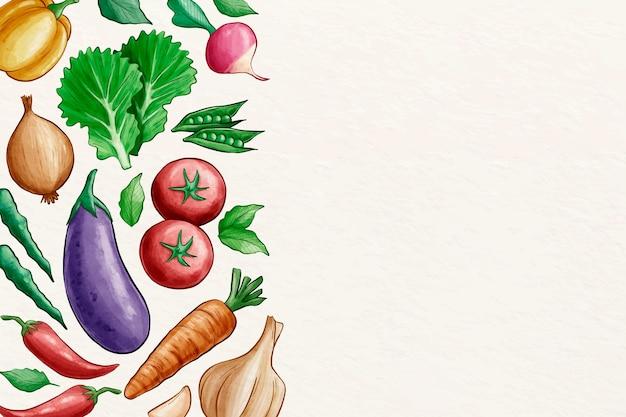 Коллекция овощей фон с копией пространства