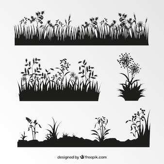 Коллекция силуэтов растительности