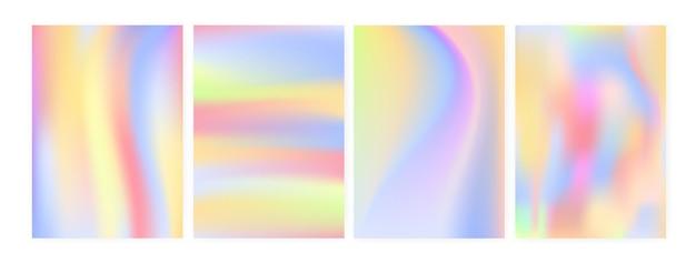 垂直の背景または虹色の染み、ぼやけ、またはホログラフィック表面の模倣を伴う背景のコレクション。ポスター、チラシ、カードテンプレートのバンドル。未来的なスタイルのベクトルイラスト。
