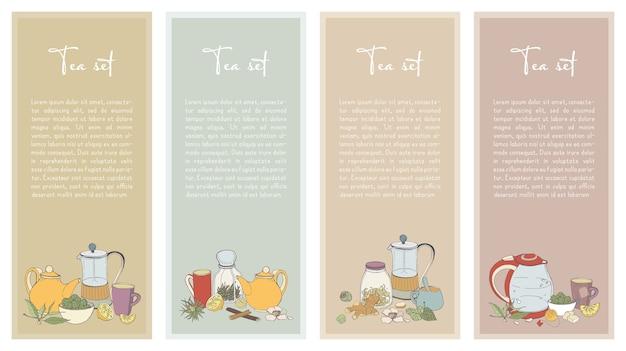 Коллекция вертикального баннера для дизайна чайного магазина