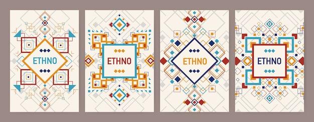 伝統的なアステカの装飾または装飾的な境界線を持つ垂直の作品のコレクション。