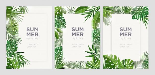 Коллекция вертикальных летних фонов с рамками или бордюрами из зеленых тропических пальмовых листьев или джунглей, экзотической листвой и местом для текста.