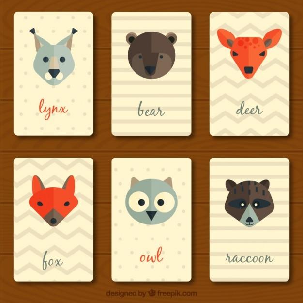 フラットなデザインのヴィンテージの動物カードのコレクション