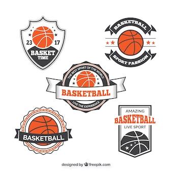 Коллекция старинных наклейки баскетбольной