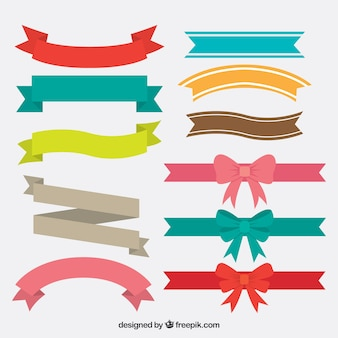 Collection of vintage colorful ribbons