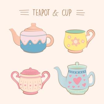 빈티지 귀여운 찻잔 및 컵 그림 컬렉션 평면 색상 설정