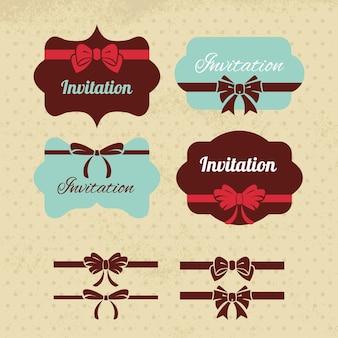 ヴィンテージラベル、リボン、リボンのコレクションデザインの要素