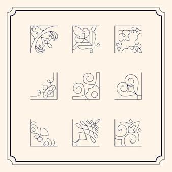 Коллекция старинных украшений рамка иллюстрации
