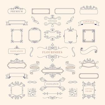 ヴィンテージ装飾フレームイラストのコレクション