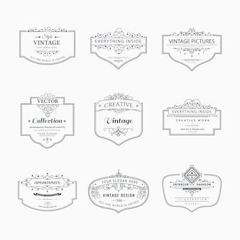빈티지 패턴의 컬렉션입니다. 붓글씨 장식품과 프레임을 번성. 디자인 요소, 표시 및 로고의 복고와 현대적인 스타일. 주형.