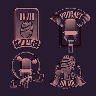 빈티지 팟 캐스트 로고 컬렉션