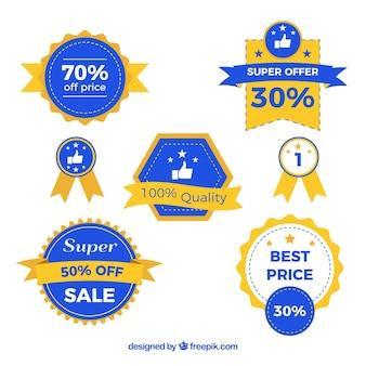 평면 디자인에 빈티지 판매 스티커 컬렉션