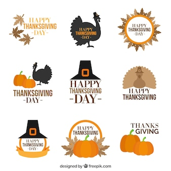 Collection of vintage style thanksgiving badges