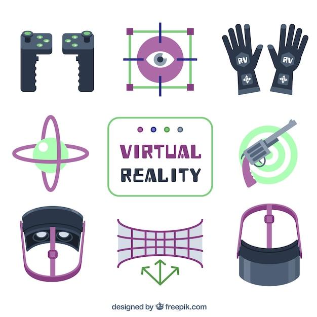 Коллекция виртуальной реальности цветные элементы