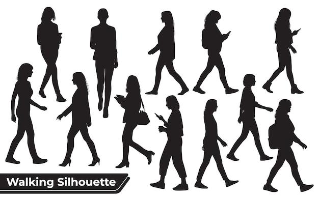 さまざまなポーズで歩く女性のシルエットのコレクション