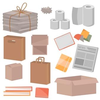 흰색 바탕에 폐지의 컬렉션입니다. 신문, 상자, 공책, 책 및 기타 쓰레기. 재활용 종이 제품. 재활용 가능한 종이 쓰레기 벡터 일러스트 레이 션.