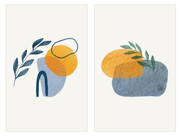 수채화 추상 모양과 나뭇잎 커버 컬렉션