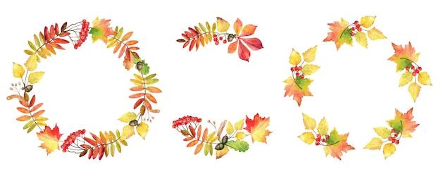 水彩の秋の花輪のコレクション。花のフレーム