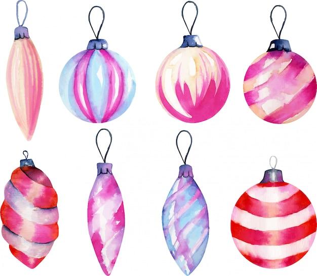 Коллекция акварельных новогодних украшений