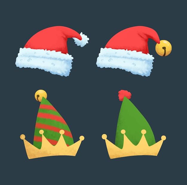 水彩のクリスマス帽子のコレクション