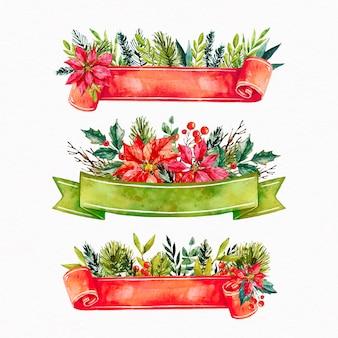 水彩のクリスマスリボンのコレクション