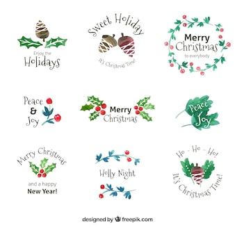 Коллекция акварельных рождественских наклеек