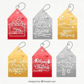 Коллекция акварельных рождественских тегов