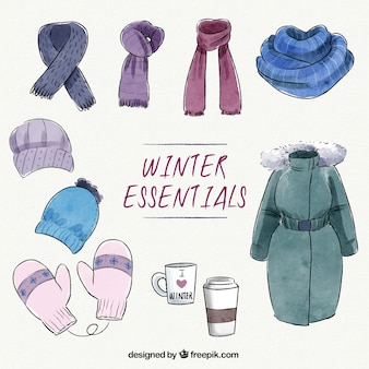 Collection of watercolor essential winter clothes