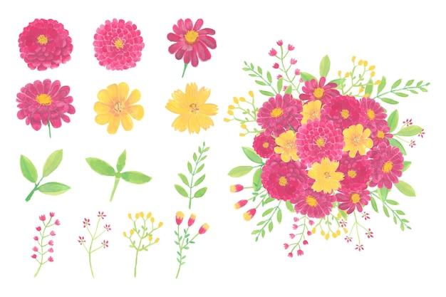 수채화 꽃 부케 흰색 절연의 컬렉션