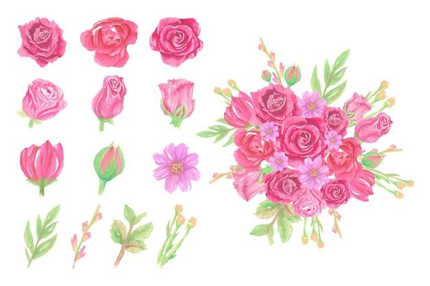 수채화 꽃 꽃다발의 컬렉션