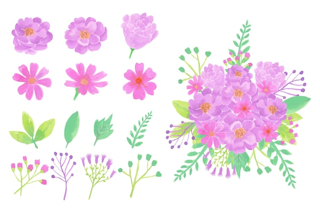 수채화 꽃 흰색 절연의 컬렉션