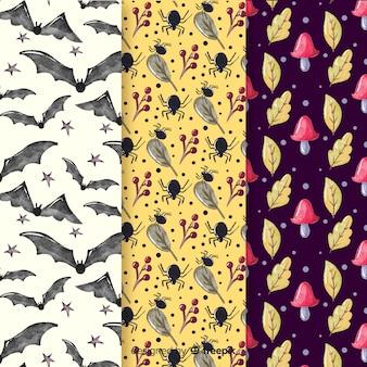 水彩ハロウィーンパターンのコレクション