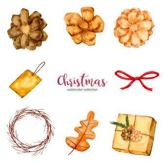 크리스마스 장식의 수채화 그림 컬렉션